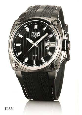 50afbc96814 Relógio Pulso Everlast Caixa Aço E Pulseira Couro E133 Preto ...