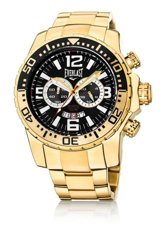 c6705de815f Relógio Pulso Everlast Cronógrafo Pulseira Aço E652 Dourado ...