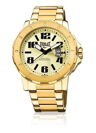 f0a92fdc73f Relógio Pulso Everlast Pulseira Em Aço Dourado 3Hands E644 - Relógio ...