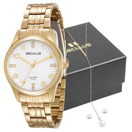 16093c9167b Relógio Seculus Feminino 20405LPSVDA1K1 + Colar e Brincos - Relógio ...
