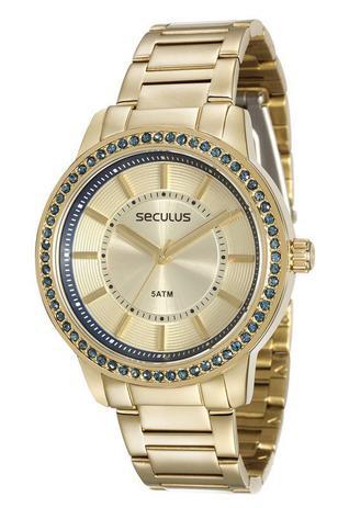 Imagem de Relógio seculus feminino 28766lpsvds2 dourado pedras azuis
