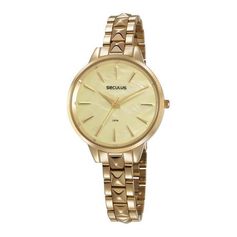 Imagem de Relógio Seculus Feminino Ref: 77029lpsvds1 Fashion Dourado
