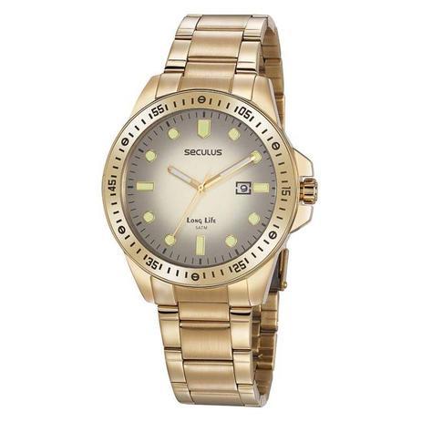 Imagem de Relógio Seculus Masculino Analógico 20852GPSVDA2 Aço Dourado