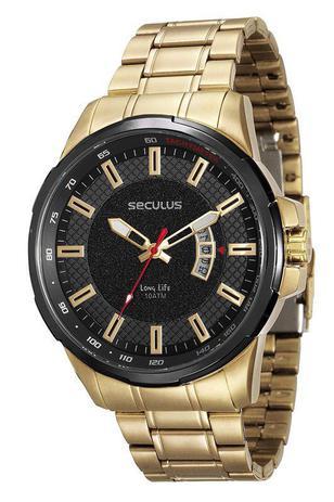 Imagem de Relógio seculus masculino dourado com preto 23576gpsvha1