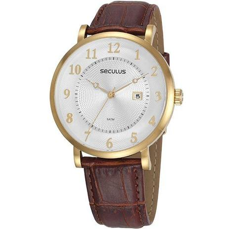 648dac0182e Relógio Seculus Masculino Dourado Marrom 20627gpsvdc1 - Relógio ...