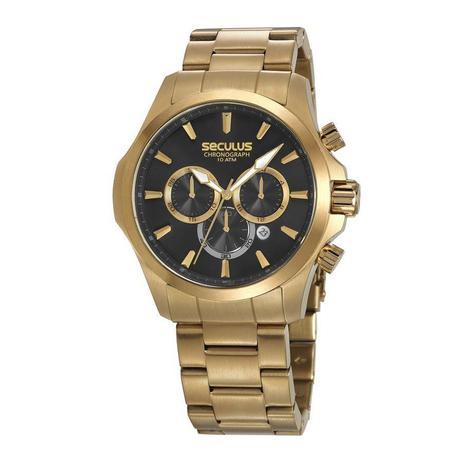 4458eb77879 Relógio Seculus Masculino Ref  13028gpsvda1 Cronógrafo Dourado ...
