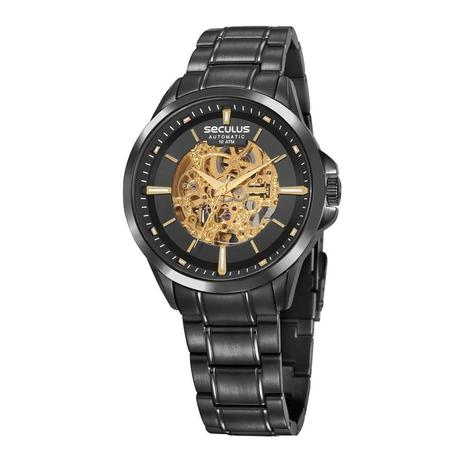 Relógio Seculus Masculino Ref  20754gpsvpa1 Automático Esqueleto Black 6419265506