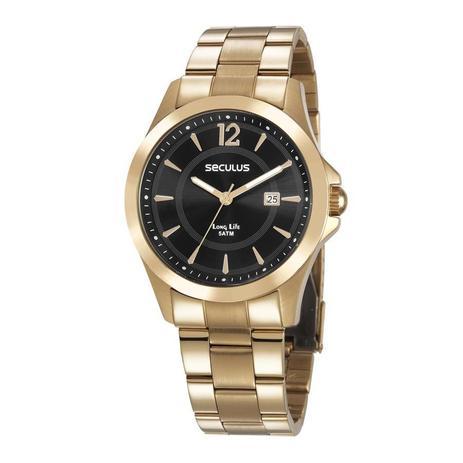 e357fba55ef Relógio Seculus Masculino Ref  28974gpsvda3 Casual Dourado - Relógio ...