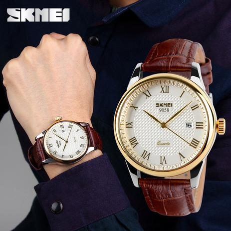 8fe0bd93334 Relógio Skmei Modelo 9058 Masculino De Luxo Pulseira Couro Analógico  Original