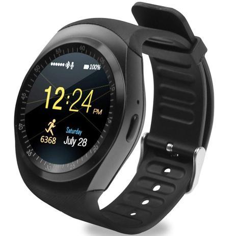 Relogio Smartwatch Y1 Original Celular Inteligente Touch Bluetooth Chip Ligacoes Pedometro Camera Preto A1