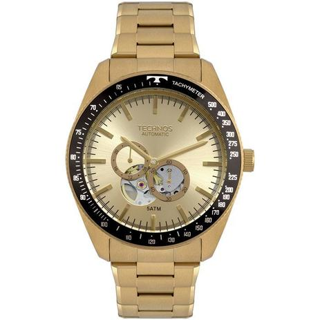 Relógio Technos Masculino Ref  82s7ab 4x Automático Dourado ... c17da33d32
