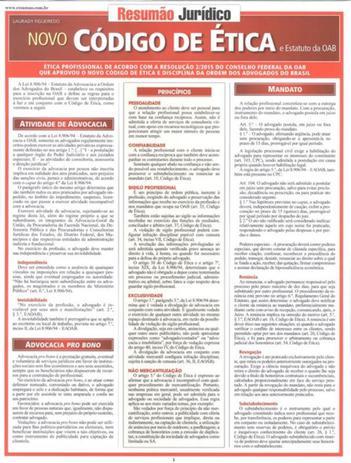 Imagem de Resumao - juridico - novo codigo de etica e o estatuto da aob