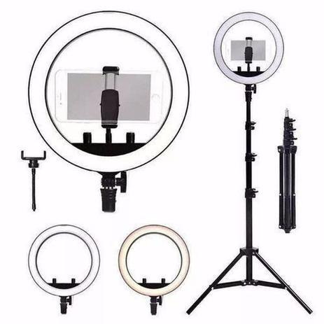 Imagem de Ring Light Completo Iluminador Portátil 26cm + Tripé 2m 10 Polegadas