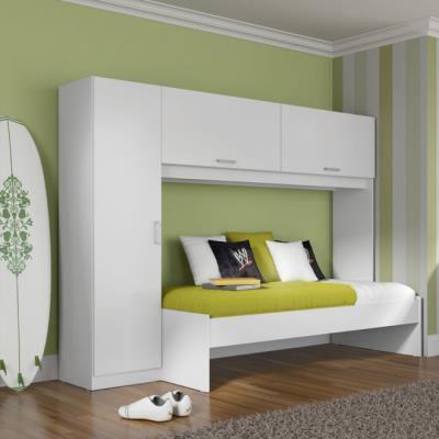 Imagem de Roupeiro 3 Portas com Cama Solteiro Branco - Multimóveis