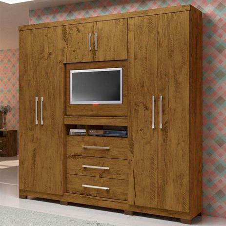 Imagem de Roupeiro Dubai 6 Portas 3 Gavetas Multifuncional com Painel para Tv de 32 Moval