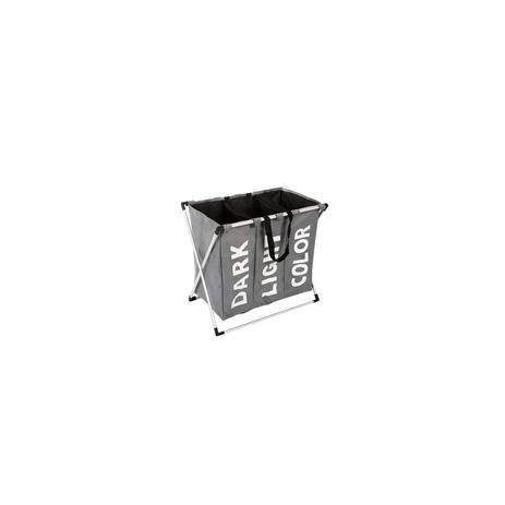 Imagem de Roupeiro triplo cesto organizador de roupas cromado dobravel para banheiro quarto e lavanderia preto kangur