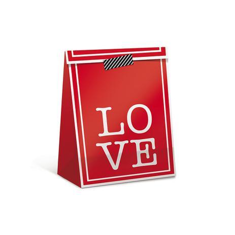 Imagem de Sacola Pacote P/Presente Estamap Love Verme. P Dec. Festas