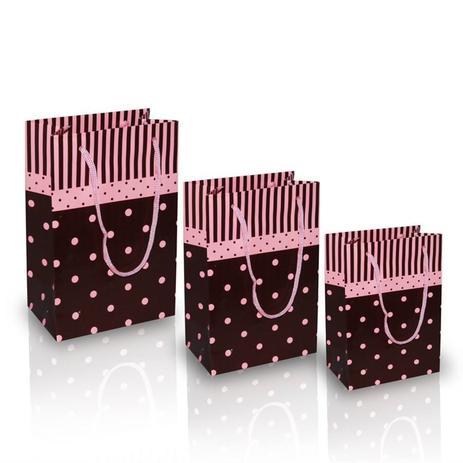 69d65f931 Sacola para Presentes Poás Rosa e Marrom 10 unidades - Festabox ...
