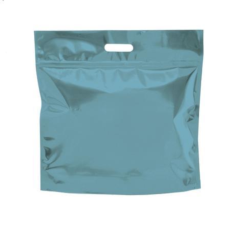 Imagem de Sacolas Gift para Presentes com Ziper Metalizado Azul Turquesa P Cromus