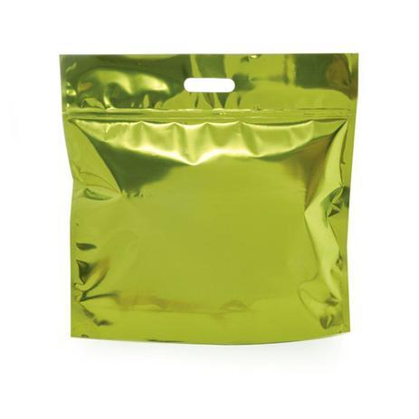 Imagem de Sacolas Gift para Presentes com Ziper Metalizado Verde Limão G Cromus