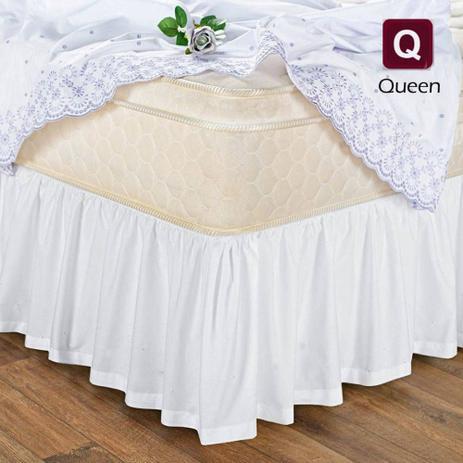 Imagem de Saia Box Cama Queen Com Elástico Branca
