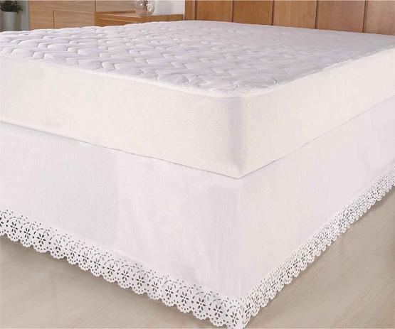 Imagem de Saia Box Casal Queen Riolen Bordado Ultrassonico c elastico - Branco