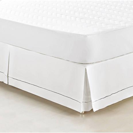 Imagem de Saia Box para Cama Casal Queen Supreme Tecido 100% Algodão 180 Fios - Branco