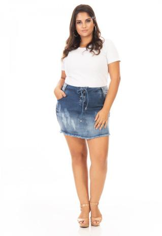Imagem de Saia Curta Jeans Lace Up Plus Size