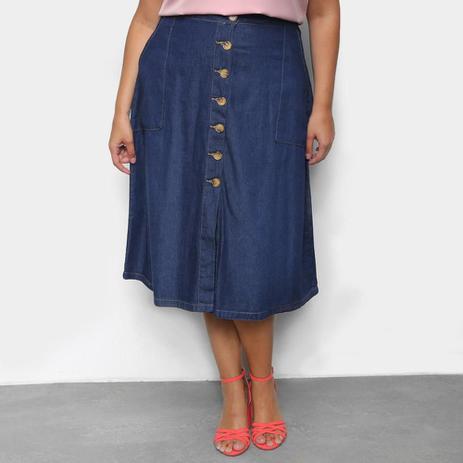 Imagem de Saia Jeans Plus Size Cambos Midi Bolsos
