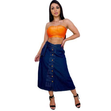 Imagem de Saia Midi Jeans com botões Frontal - EWF Jeans  Azul escuro