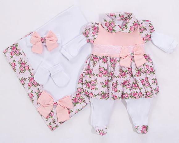71fc97a201cf3 Saída De Maternidade Menina 5 Peças Floral Rosa - I9 baby - Roupas ...