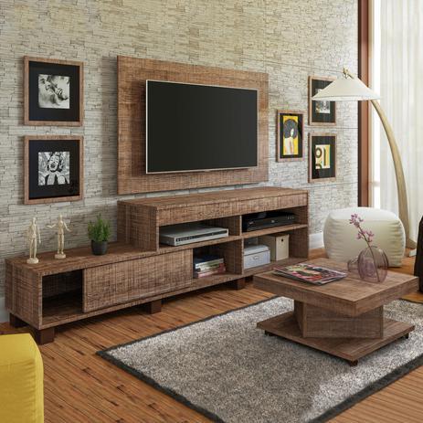 Imagem de Sala de Estar com Painel, Rack e Mesa de Centro Requinte Siena Móveis Canela