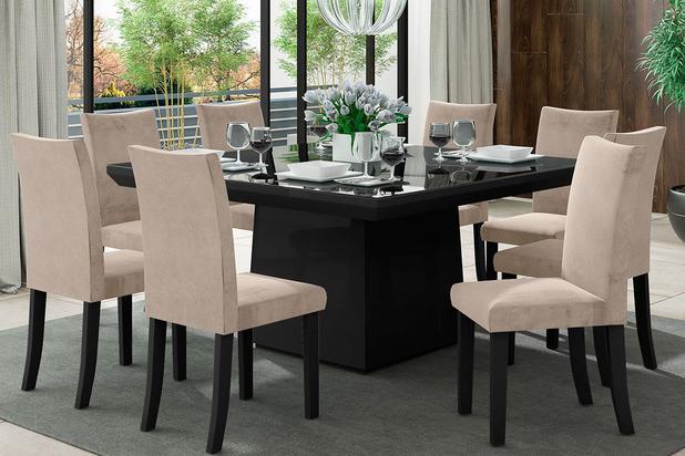 Imagem de Sala de Jantar Milão com 8 Cadeiras Oxford Preto/Bege