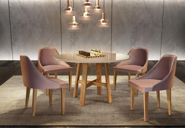 Imagem de Sala de Jantar Paris, mesa redonda 1,10 m de diâmetro, Cadeira Beatriz - Móveis Valverde
