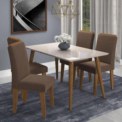 aec5ee2ef49675 Sala Jantar Adele 130 Cm x 80 Com 4 Cadeiras Milena C/ Moldura Madeira/Off  White/Sav/Chocolate - Cimol