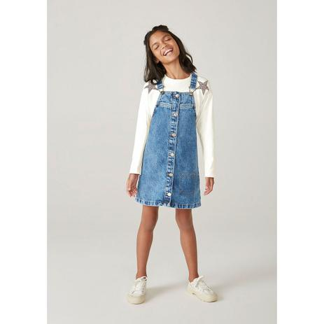 Imagem de Salopete Jeans Infantil Menina Marmorizada