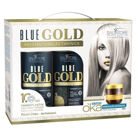 Salvatore Progressiva Blue Gold Reestruturação Tanínica 2x500ml + Máscara  500g ae6adbd013