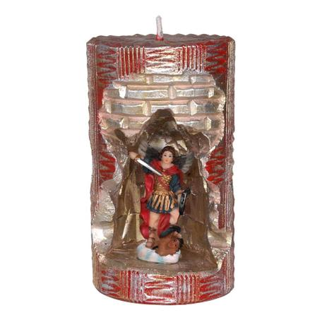Imagem de São Miguel Arcanjo. Rossoni Velas. Gruta em vela tam 10x16cm vermelha. Imagem em resina 9cm