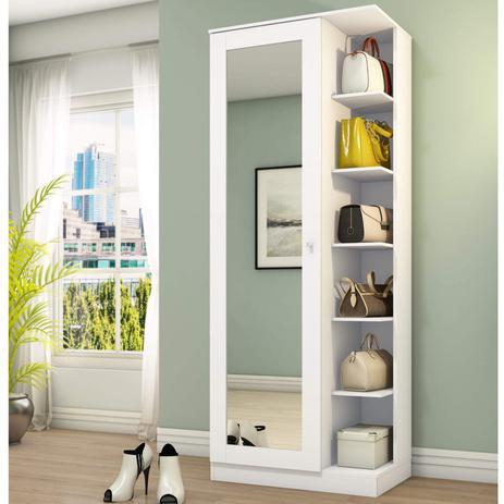 Imagem de Sapateira 1 Porta com Espelho Happy Espresso Móveis Branco Fosco