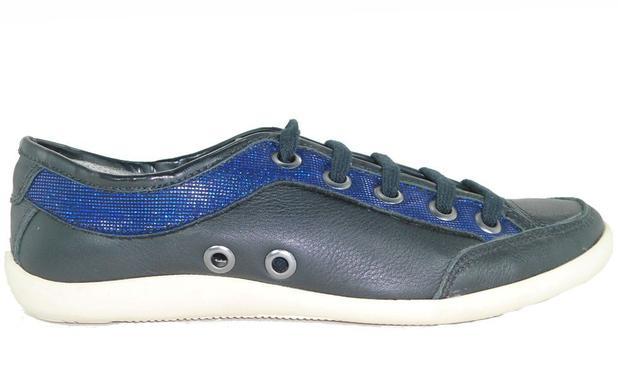 ad5ad50571 Sapatênis Feminino de Couro Gasparini 100092 preto azul ...