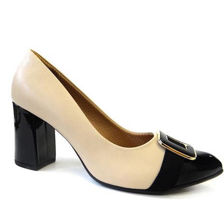 3f1d025be Sapato feminino conforto 746002 - piccadilly (27) - bege/preto ...