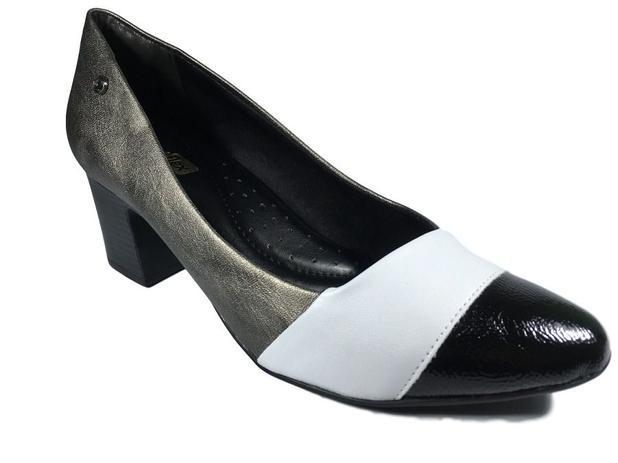 08cbd234c Sapato Scarpin Comfortflex Cinza Preto Salto 5cm Ref 1954304 - Ramarim