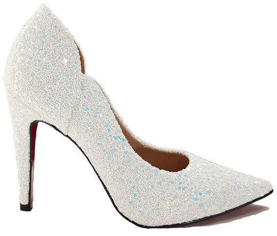 f7d27a9a17d Sapato Scarpin Feminino Branco Gliter Furtacor Noiva Dom Amazona Cd 3 - Dom  amazona