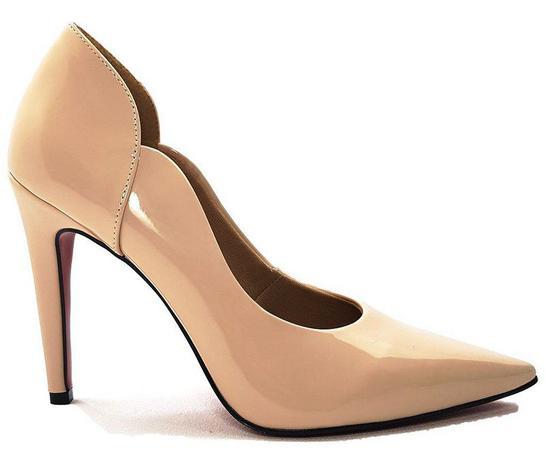 6d0c1e43e Sapato Scarpin Feminino Salto Alto Verniz Nude Dom Amazona Cód 31 - Dom  amazona