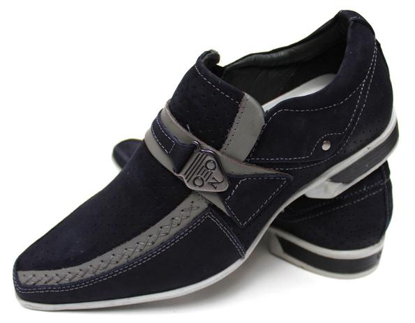 e97dfea6b Sapato Social Casual Masculino Bico Fino Couro Azul - Nevano ...