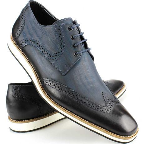 db6a544f98 Menor preço em Sapato Social Casual Masculino Oxford Brogue Marinho De  Couro e Solado EVA -