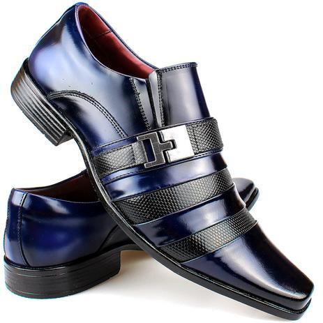 ef5c4dbde2 Sapato Social Masculino Bico Fino De Couro Verniz Preto com Azul -  Sapatofranca