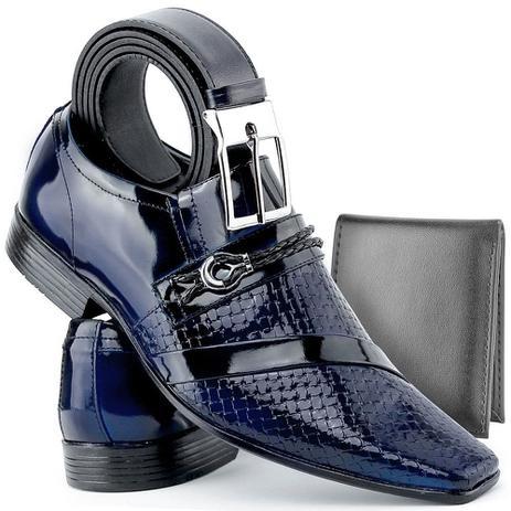 ad801e242 Sapato Social Masculino Em Couro Envernizado Azul Com Kit Cinto E Carteira  - Venetto