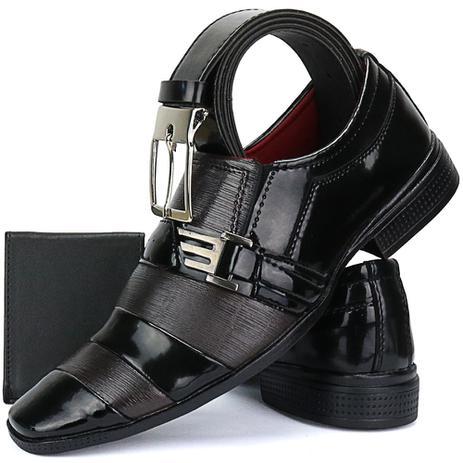 0d054a7bf4 Sapato Social Masculino Envernizado Bico Fino Com Cinto E Carteira -  Sapatofran