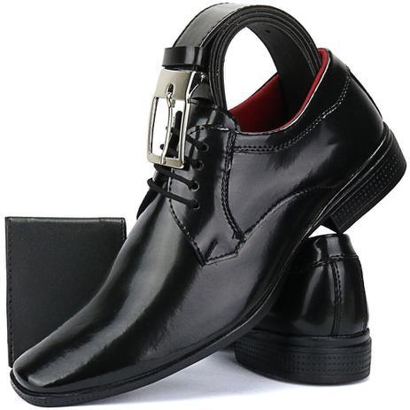 455d591aa Sapato Social Masculino Envernizado Bico Fino Kit Cinto E Carteira - Ws  shoes